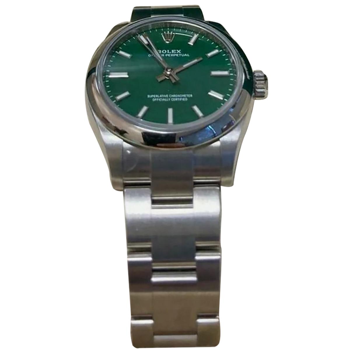 Rolex Oyster Perpetual 31mm Uhr in  Gruen Stahl