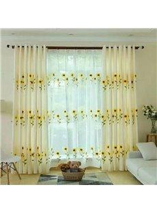 Fresh Sunflowers Print Custom Decorative Blackout Curtain Sets for Living Room Bedroom