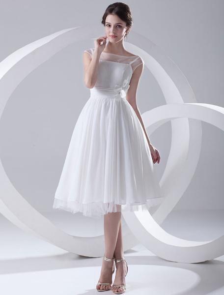 Milanoo Simple Wedding Dresses Illusion Short Bridal Dress White Chiffon Wedding Gown