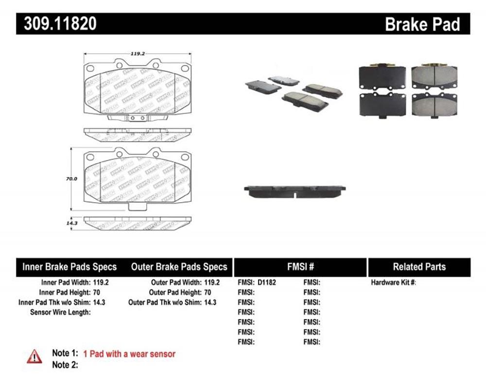 StopTech 309.1182 Sport Brake Pads with Shims/Hardware Subaru STI Front 2006-2007
