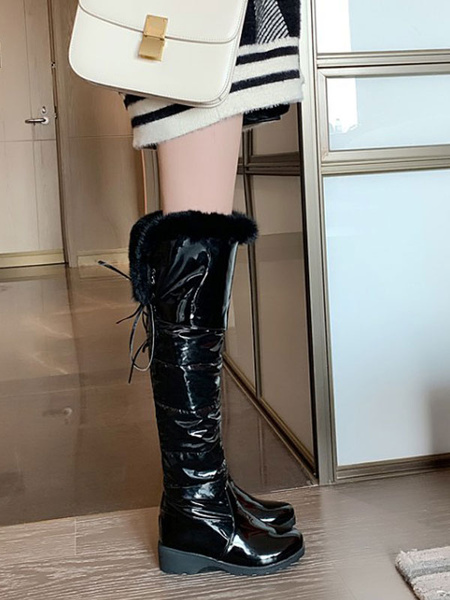 Milanoo Women\'s Over The Knee Boots White Round Toe Wedge Heel