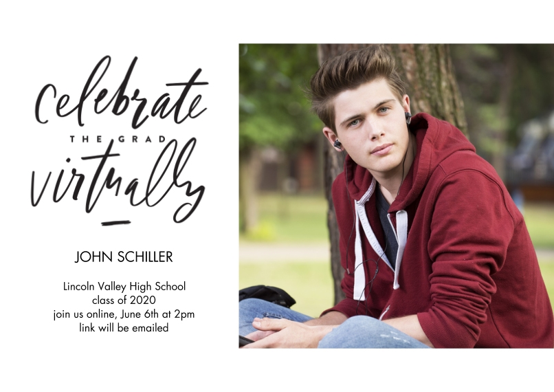 Graduation Invitations 5x7 Cards, Premium Cardstock 120lb, Card & Stationery -Celebrate Virtually Lettered