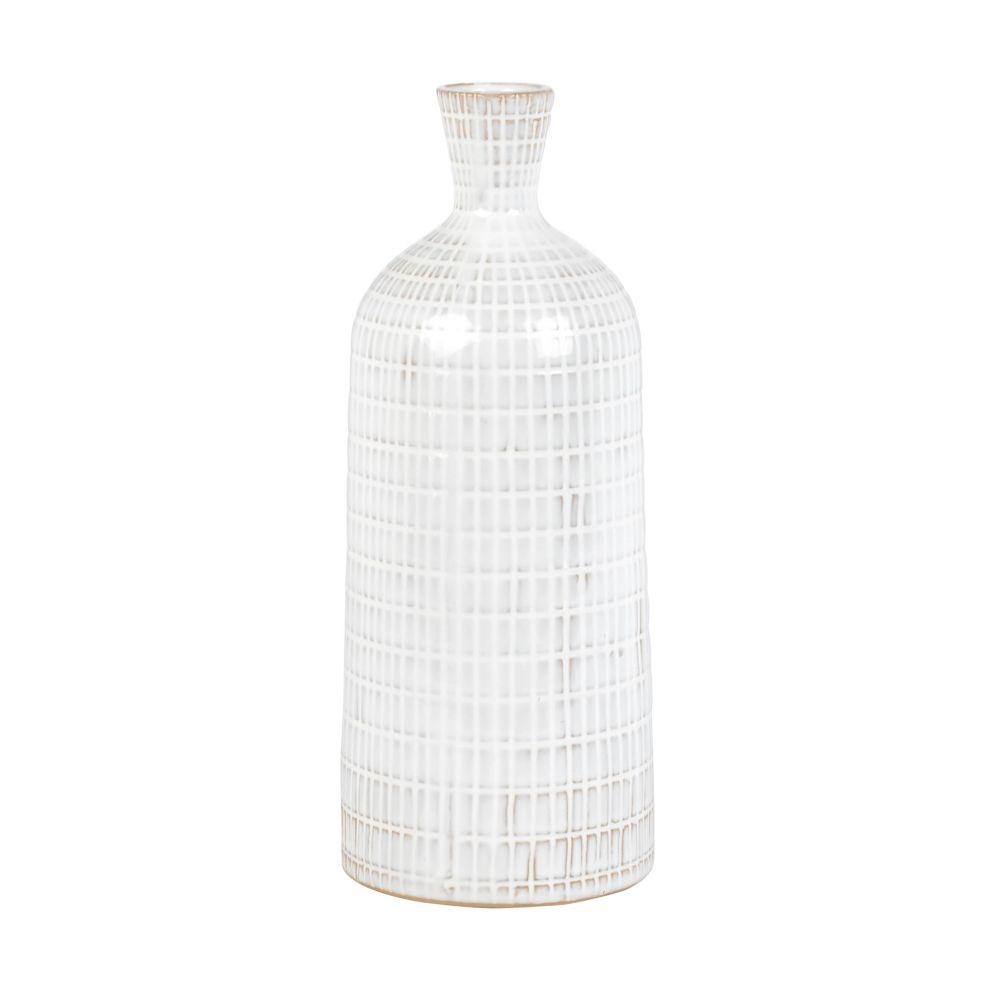 Vase aus weissem und grauem Steinzeug mit grafischen Mustern H28