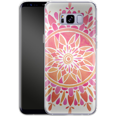 Samsung Galaxy S8 Plus Silikon Handyhuelle - Mandala Pink Ombre von Cat Coquillette
