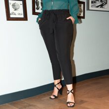 Plus Paper Bag Waist Belted Tapered Pants