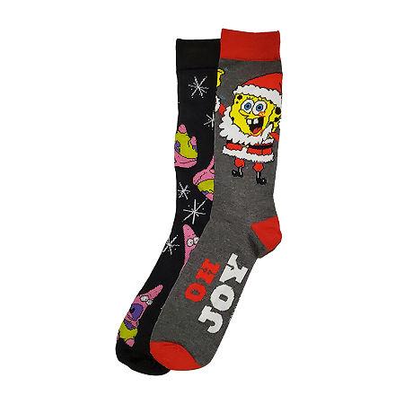 Nickelodeon Spongebob Patrick 2 Pair Crew Socks-Mens, 10-13 , Black