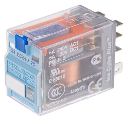 Releco , 24V dc Coil Non-Latching Relay DPDT, 6A Switching Current PCB Mount, 2 Pole