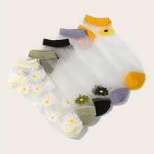 5 Paare Contrast Netzstoff Socken