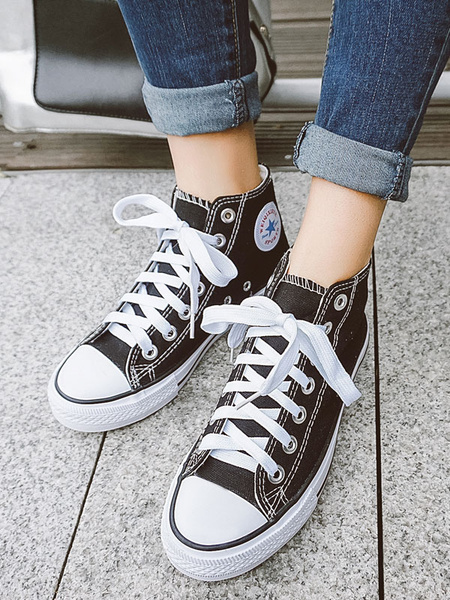 Milanoo Women Canvas Shoes Red Round Toe Lace Up High Top Sneakers Casual Shoes