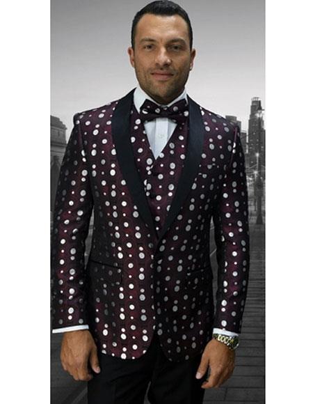 Men's Single Breasted Burgundy Polka Dot Pattern Vest Tuxedo