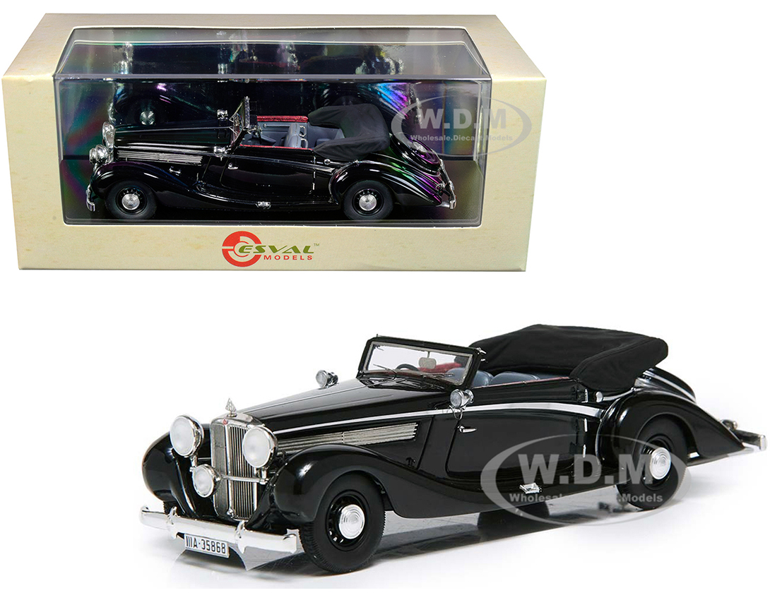 1938 Maybach SW38 Cabriolet A by Spohn (Top Down) Black Limited Edition to 250 pieces Worldwide 1/43 Model Car by Esval Models