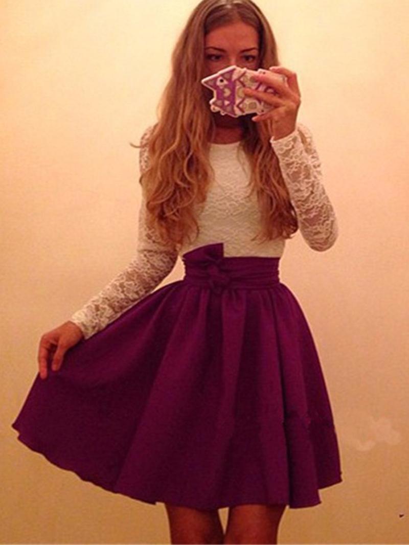 Ericdress Knee-Length Long Sleeve Patchwork Zipper Pleated Dress