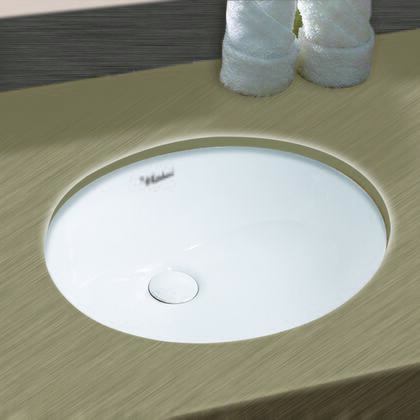 WHU71001 Isabella Plus Collection 16 inch Oval Undermount basin with overflow and rear center