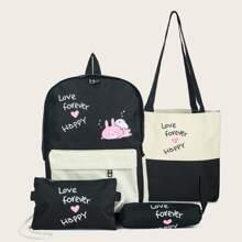 4pcs Cartoon & Letter Graphic Backpack Set
