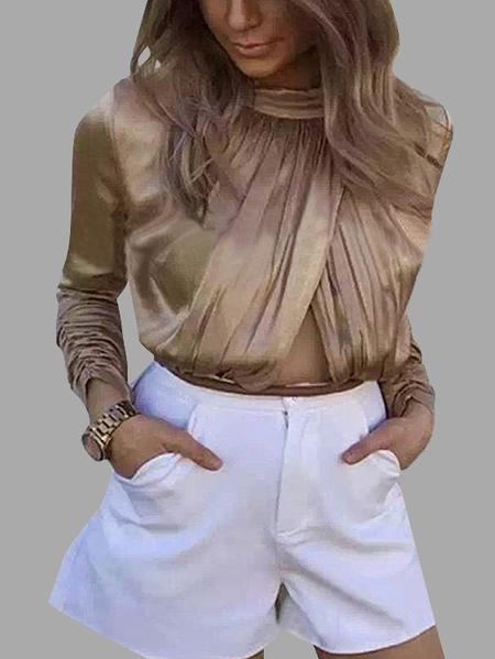 Yoins Khaki High Neck Hollow Design Folded Bodysuit