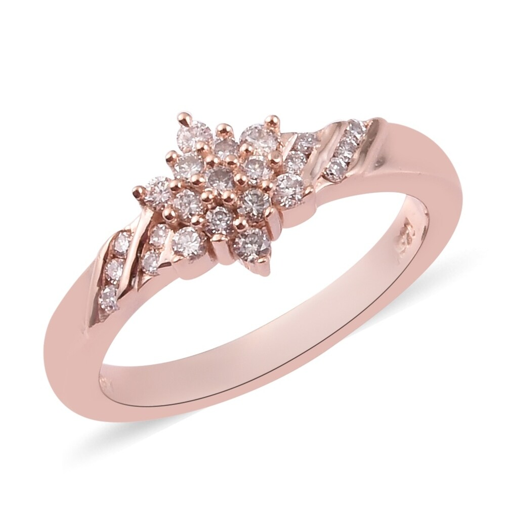 Rose Gold Over 925 Silver Pink Diamond Cluster Ring Size 7 Ct 0.2 (Pink)