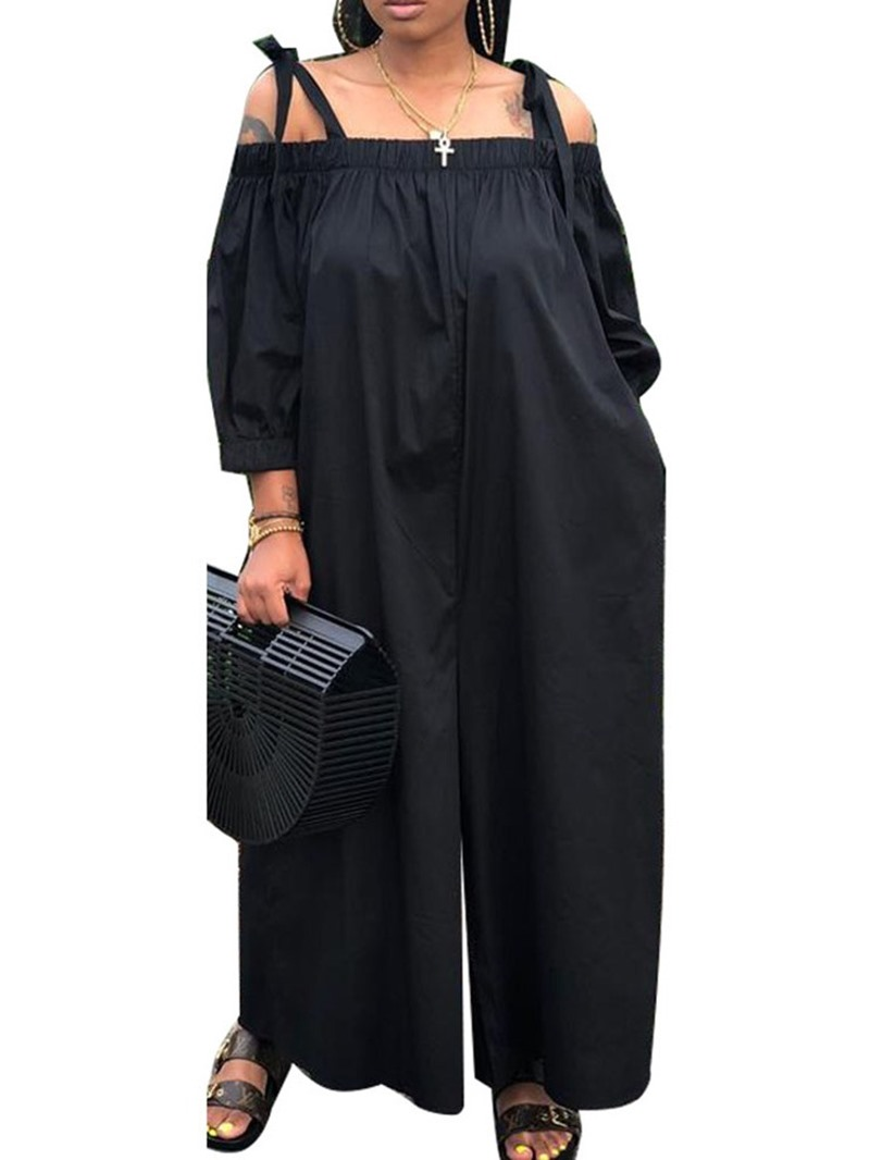 Ericdress Full Length Simple Pleated Loose Jumpsuit