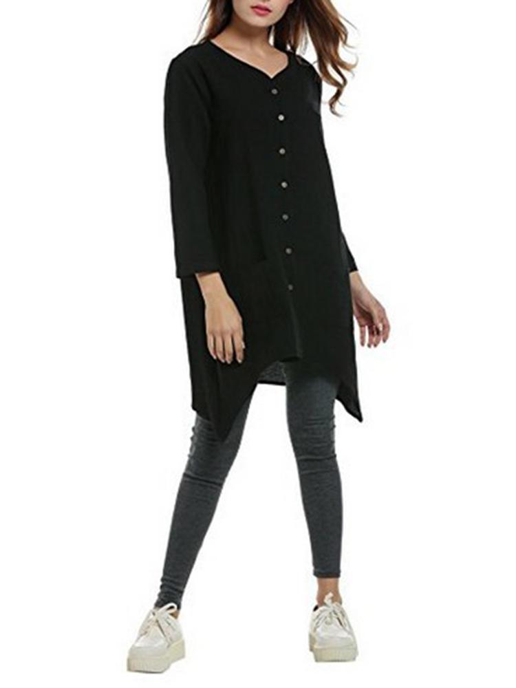 V-neck Button Long Sleeve Pockets Irregular Long Blouse