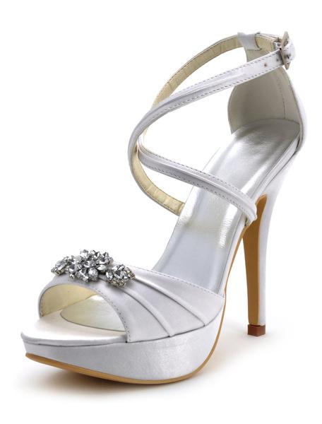 Milanoo Zapatos de novia de seda y saten Zapatos de Fiesta de tacon de stiletto Zapatos blanco  Zapatos de boda de puntera abierta 12.5cm con hebilla