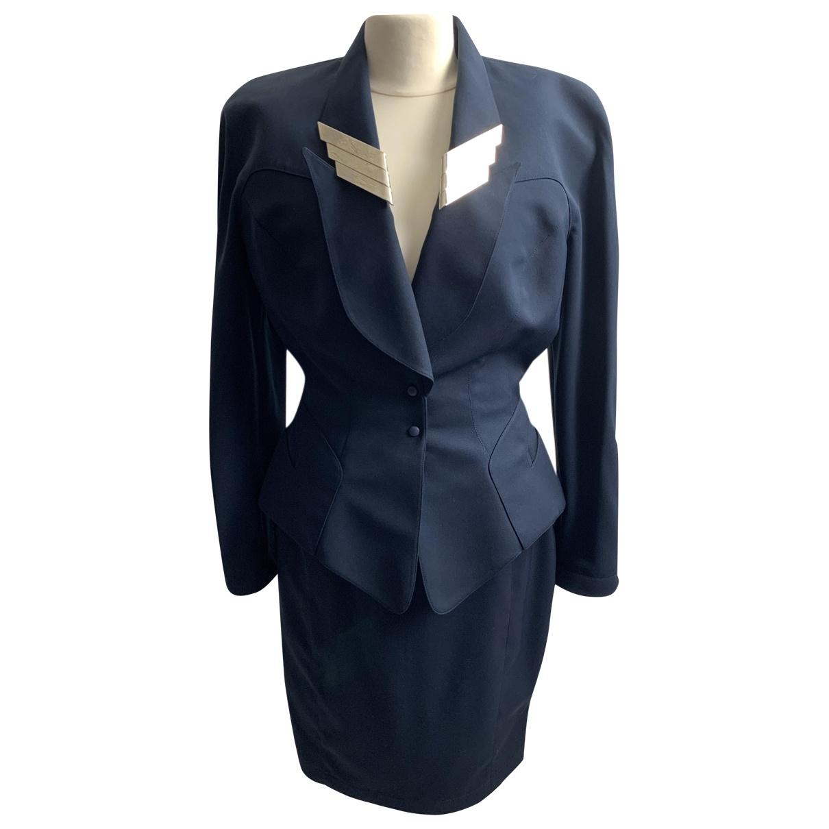 Thierry Mugler \N Kleid in  Blau Synthetik