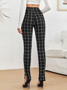 Split Hem Grid Print Skinny Pants
