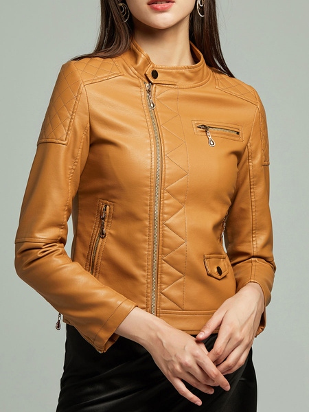 Milanoo Women Motorcycle Jacket PU Leather Stand Collar Long Sleeve Winter Jacket