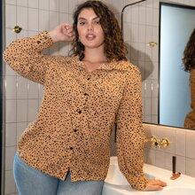 Bluse mit Dalmatiner Muster und Knopfen