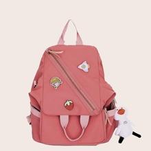 Girls Cartoon Decor Zip Front Backpack