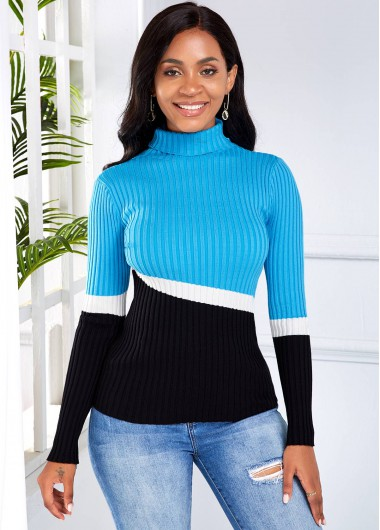Rosewe Women Blue Long Sleeve Turtleneck Contrast Sweater Color Block Casual Winter Jumper - S