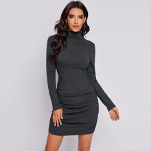 Stand Collar Ruched Hem Bodycon Dress