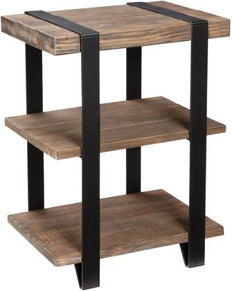 Modesto Collection AMSA0220 2-Shelf Metal Strap and Reclaimed Wood End