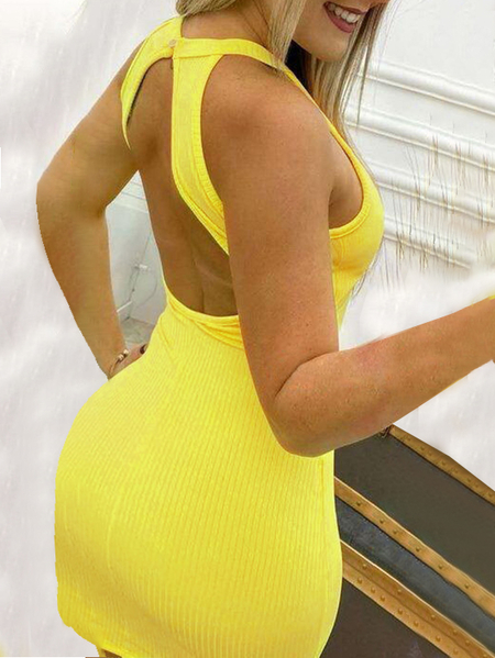 Yoins Knit Backless Cut Out Halter Sleeveless Dress