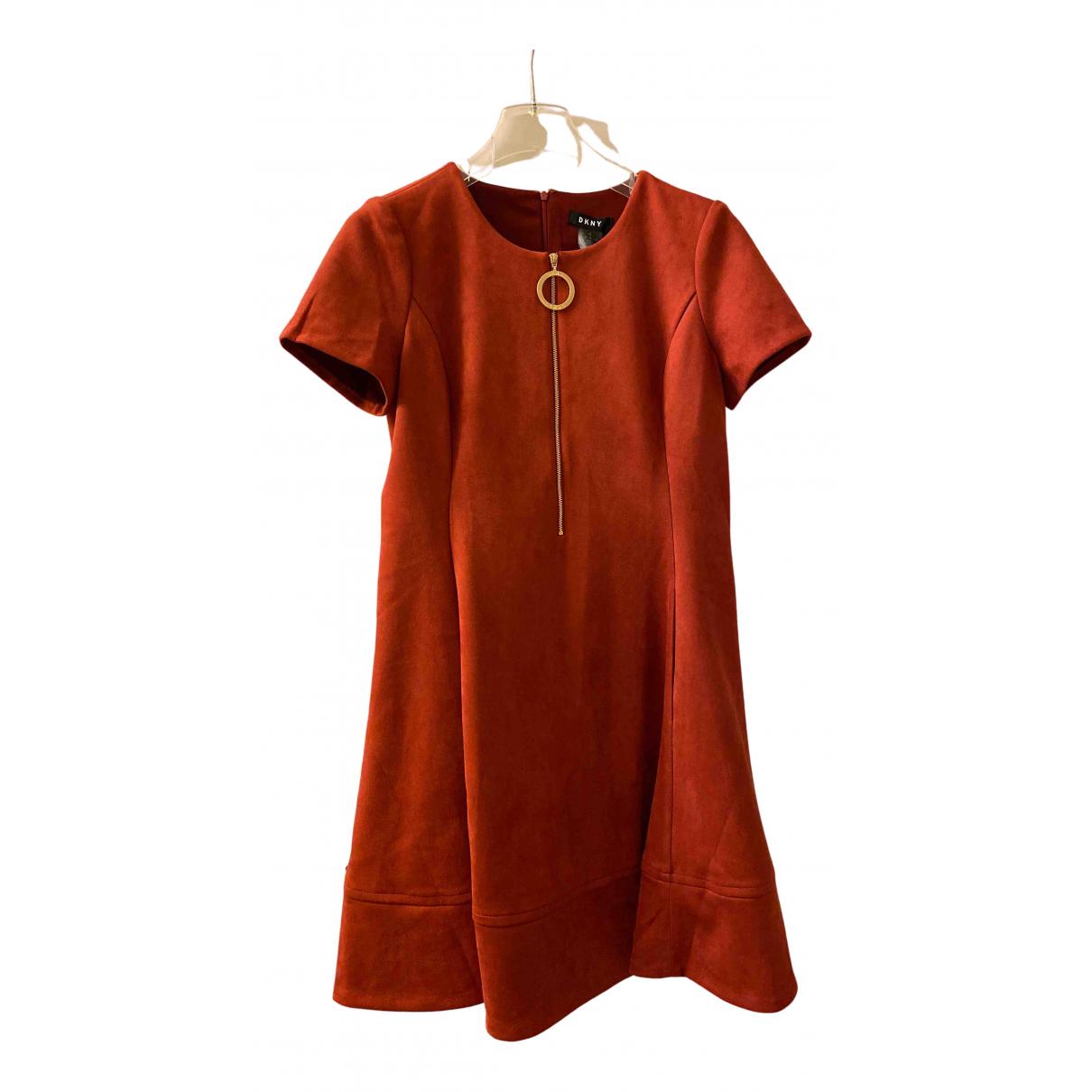 Dkny - Robe   pour femme en coton - elasthane - bordeaux