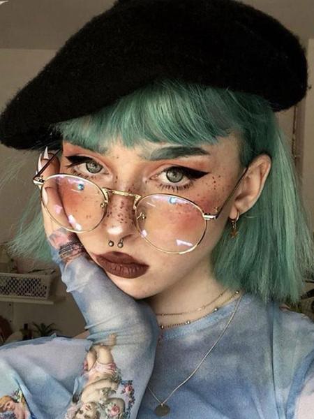 Milanoo Pelucas cortas de lolita Peluca de cabello lolita verde menta despeinada