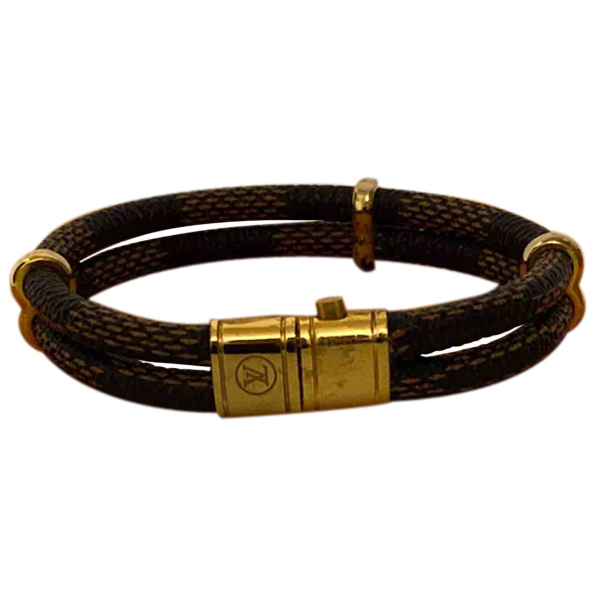 Louis Vuitton - Bracelet Lockit pour femme en cuir - marron