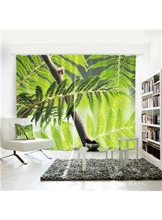 3D Mildew Resistant Waterproof Tropic Plant Pattern Digital Printing Curtains
