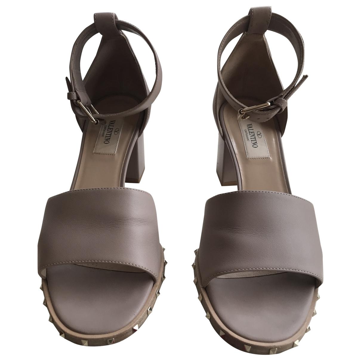 Valentino Garavani - Sandales   pour femme en cuir - beige