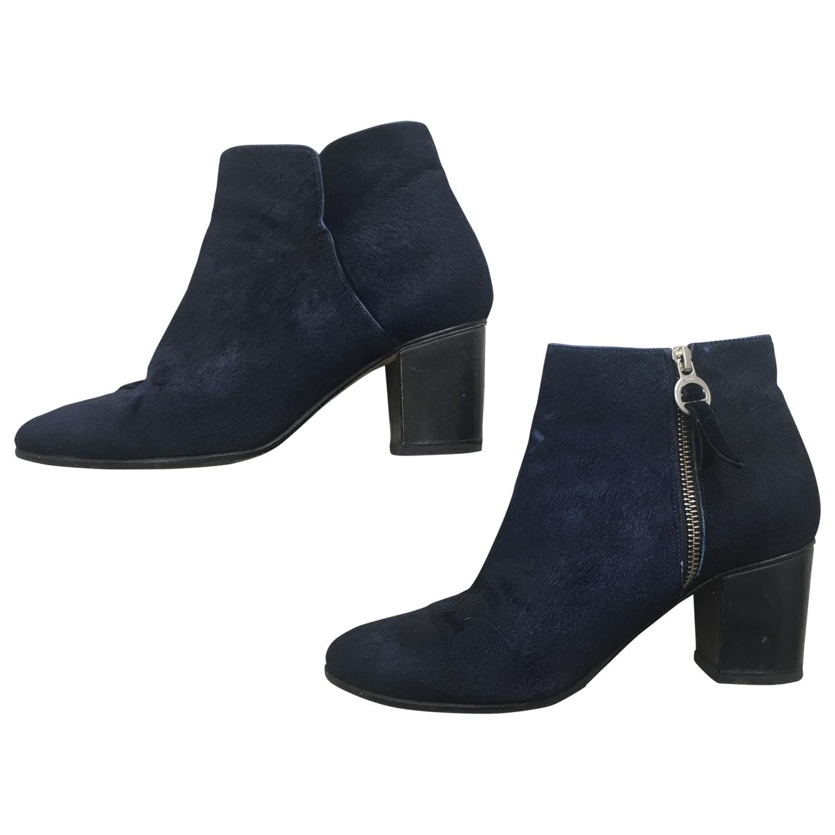 Folk \N Navy Pony-style calfskin Ankle boots for Women 39 EU