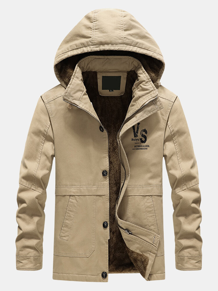 Mens Thicken Fleece Lined Warm Outdoor Casual Hooded Parkas