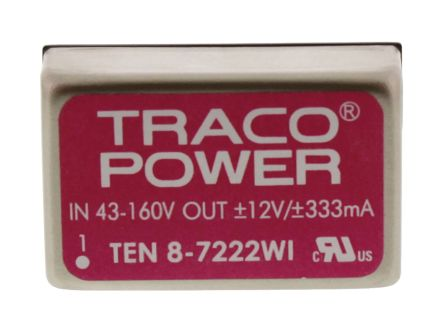 TRACOPOWER TEN 8WI 8W Isolated DC-DC Converter Through Hole, Voltage in 43 → 160 V dc, Voltage out ±12V dc