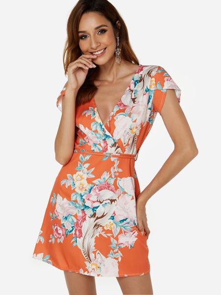 Yoins Orange Belt Design Random Floral Print Deep V Neck Short Sleeves Mini Dress