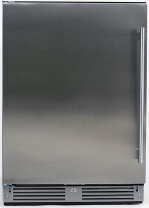 XOU24ORSL 24 Outdoor Compact Refrigerator with Three Extendable Glass Shelves  Tri-Color LED Lighting and Door Lock in Stainless