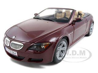 BMW M6 E64 Convertible Burgundy 1/18 Diecast Model Car by Maisto