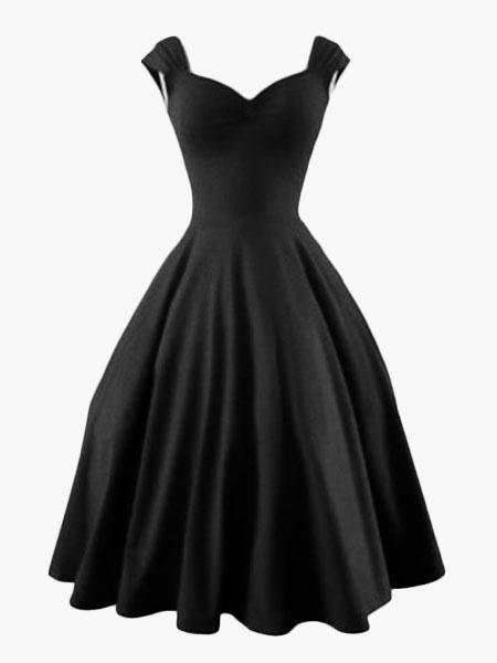 Milanoo Red Vintage Dress Sweetheart 1950s Style Audrey Hepburn Retro Swing Dress