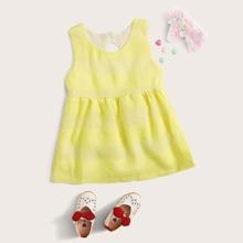 Toddler Girls Neon Yellow A-line Dress