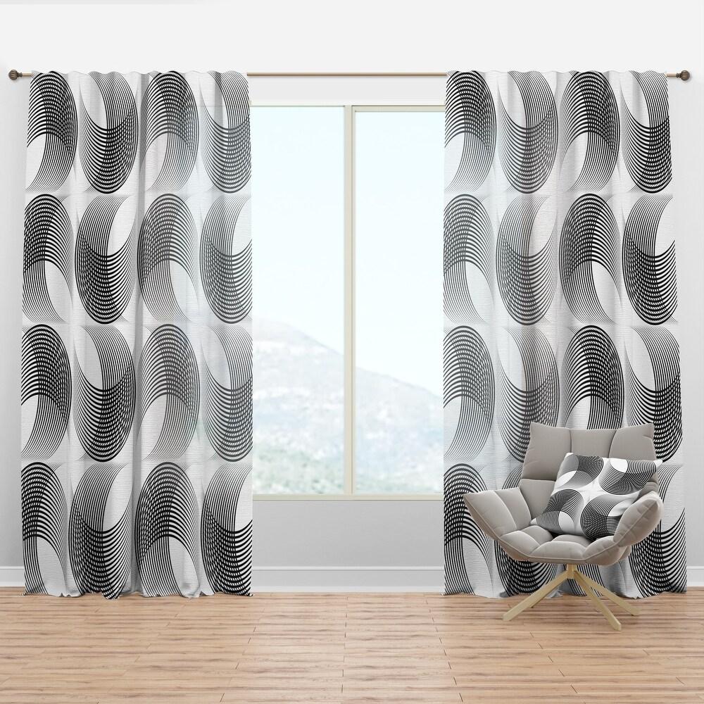 Designart 'Monochrome Geometric Pattern IX' Mid-Century Modern Curtain Panel (50 in. wide x 95 in. high - 1 Panel)
