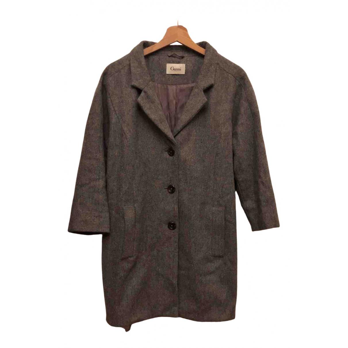 Ganni - Manteau   pour femme en laine - gris