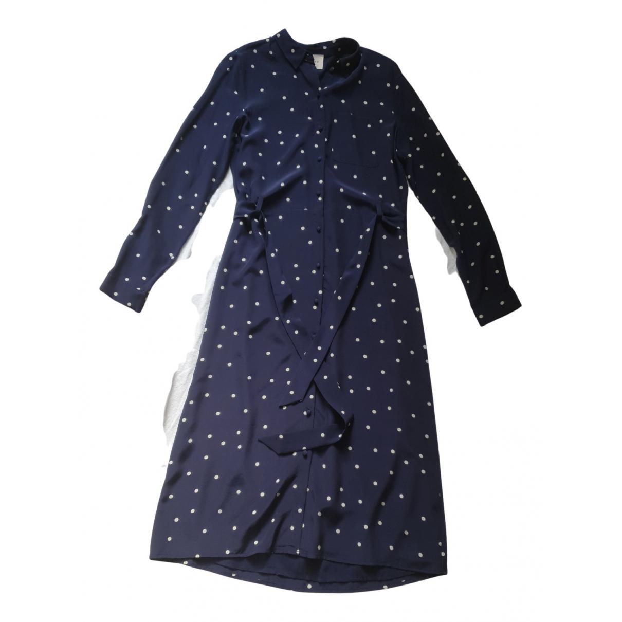 Sézane Spring Summer 2019 Blue Silk dress for Women 34 FR