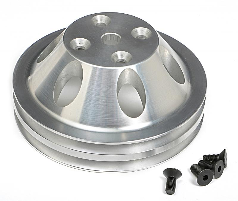 Trans-Dapt Performance 9483 WATER PUMP Pulley; 2 Groove; 69-85 CHEVROLET 283-350; LONG W/P- Mach. ALUMINUM Chevrolet