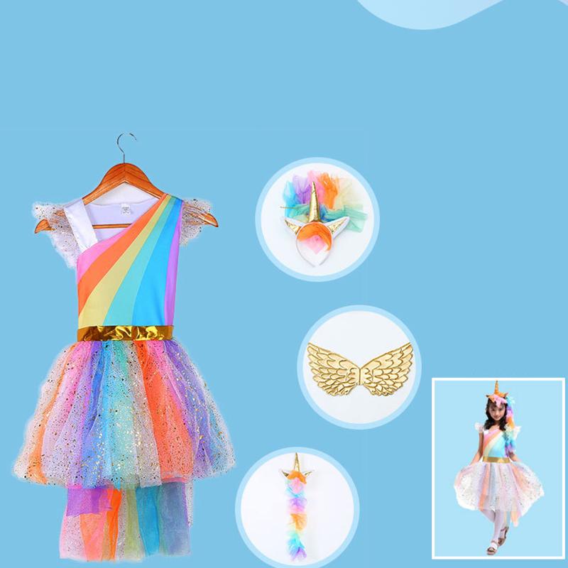 Multi Color Dream Unicorn Princess Dress for Girl